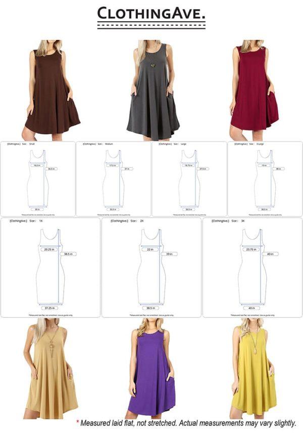 Sleeveless Round Hem Swing Dress w/ Side Pockets