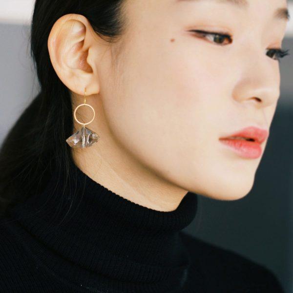 Black Crystal Circle Earring