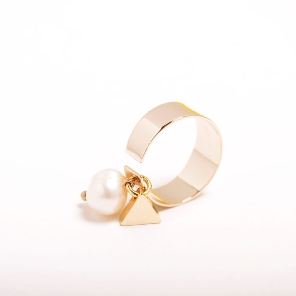 Minimal Triangle With Pearl Pendant Ring