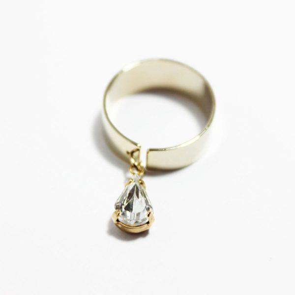 Tear Shape Crystal Ring