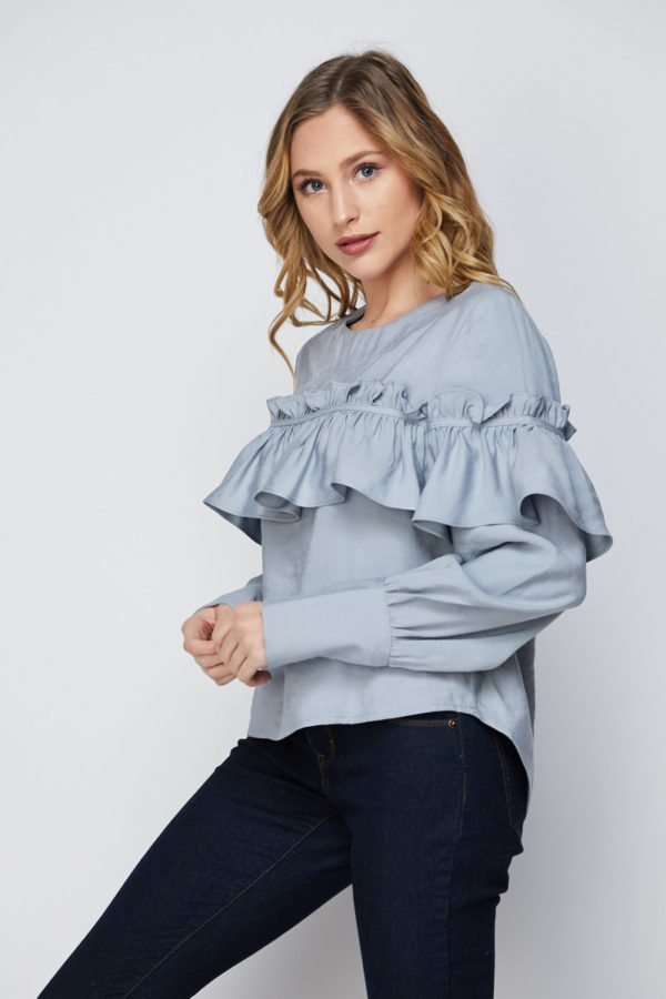 Premium Tencel Floating on Air Ruffle Long Sleeve Blouse