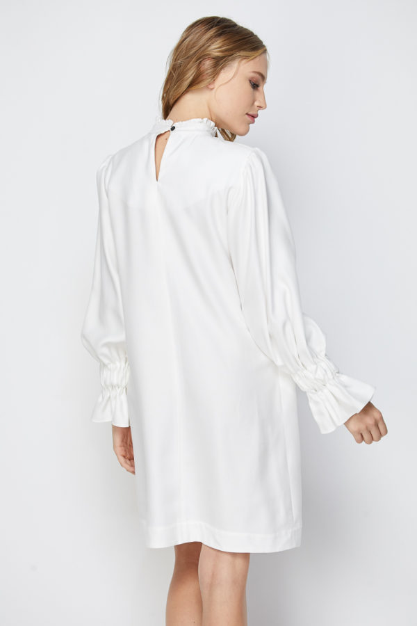 Premium Tencel Ruffled High Neck Shift Dress