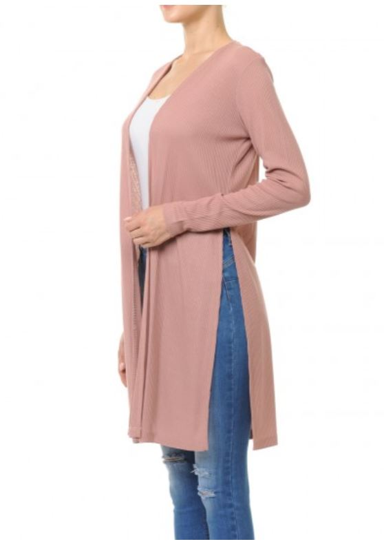 Women's Lightweight Ribbed Long Sleeve Longline Cardigan Duster With Side Slit