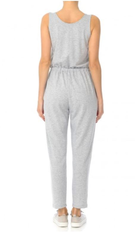 Women's Casual French Terry Knit Scoop Neck Sleeveless Romper Jump Suit