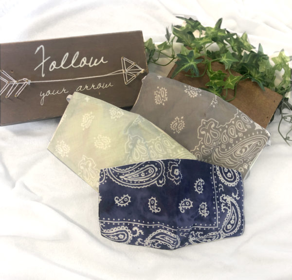 Triple-ply Cotton Bandanna Face Mask with Filter and Filter Pocket