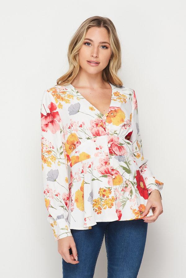 Sweety Sun-Kissed Floral Print Long Sleeve Peplum Top