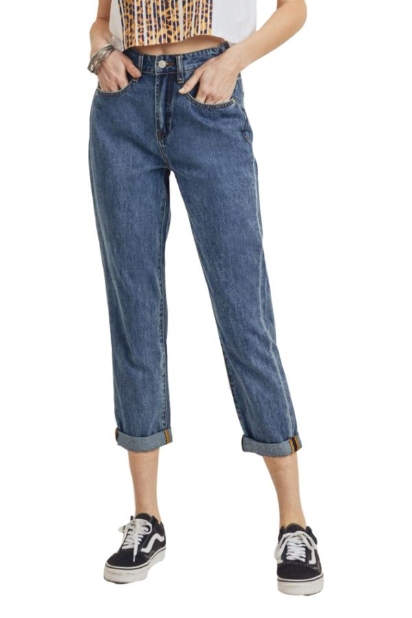 Women's Denim High Waist Vintage Mom Fit Jeans Medium Wash Jeans