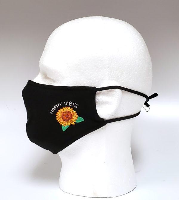 Embroidery Mask, Fashion Mask, Face Masks, Fabric Mask Washable Cotton Mask (Sun Flower-Happy Vibes)