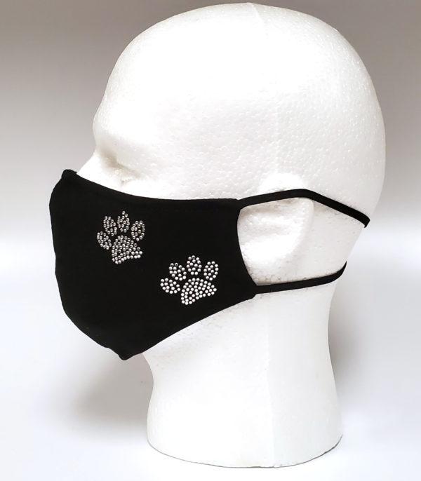 Rhinestone Mask, Fashion Mask, Face Masks, Fabric Mask Washable Cotton Mask (I love Dog)