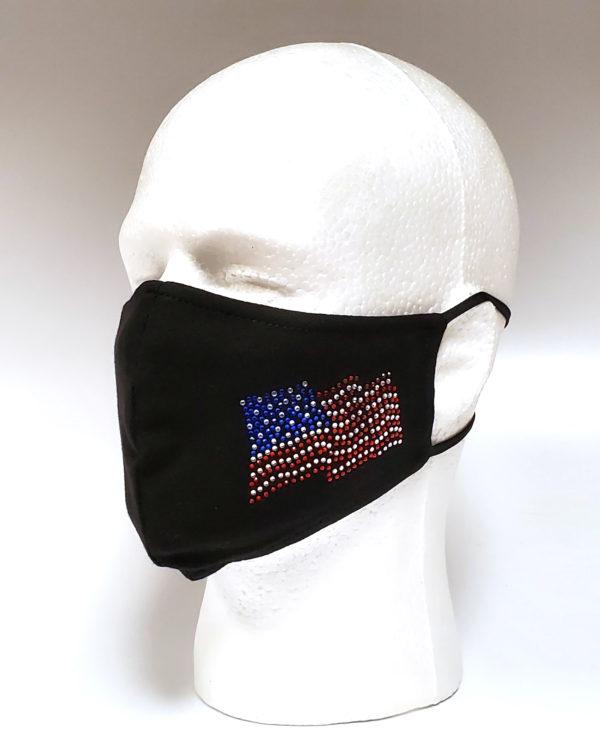 Rhinestone Mask, Fashion Mask, Face Masks, Fabric Mask Washable Cotton Mask (USA Flag-I love USA)