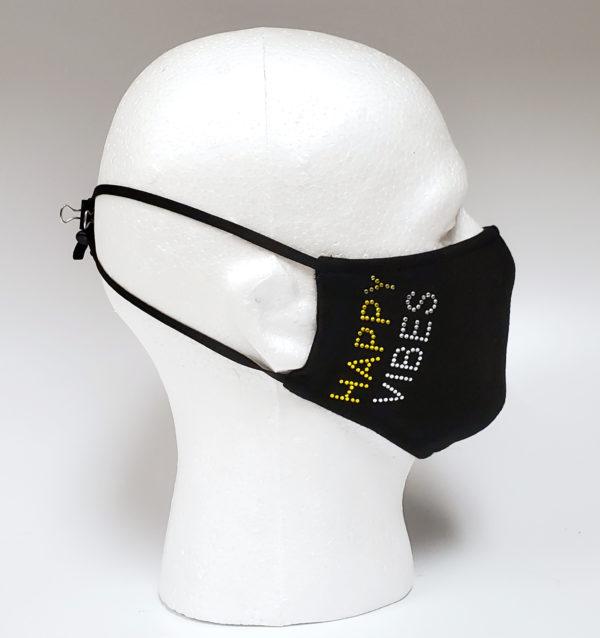 Rhinestone Mask, Fashion Mask, Face Masks, Fabric Mask Washable Cotton Mask (Smile-Happy Vibes)
