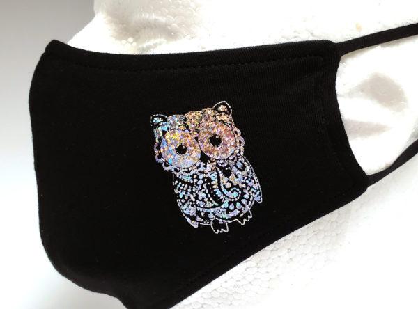 Foil Printing Mask, Hologram Mask, Fashion Mask, Face Masks, Fabric Mask Washable Cotton Mask (owl)