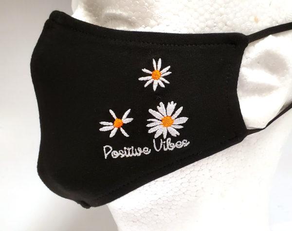 Embroidery Fabric Masks, Rhinestone Mask, Fashion Mask, Face Masks, Washable Cotton Mask (Chrysanthemum)