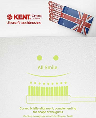 [KENT] CRYSTAL Small Soft Firm Action Toothbrush (Compact Size) - (Set of 5)