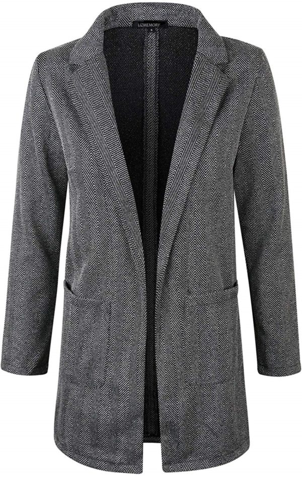 Women's Special Herringbon & Houndstooth Long Sleeve Open Front Blazer Jacket