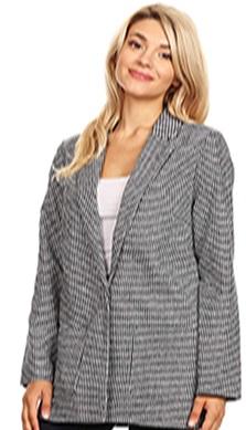 Women's Special Herringbon & Houndstooth Long Sleeve Open Front Blazer Jacket