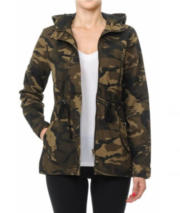 Women Hooded Camo Anorak Jacket Lightweight Army Camouflage Print Military Half Coat