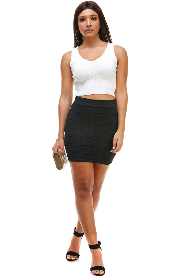 Womens Knit Bandage Pattern Soft and Premium High Quality Comfortable Sexy Club Ribbed Mini Skirt
