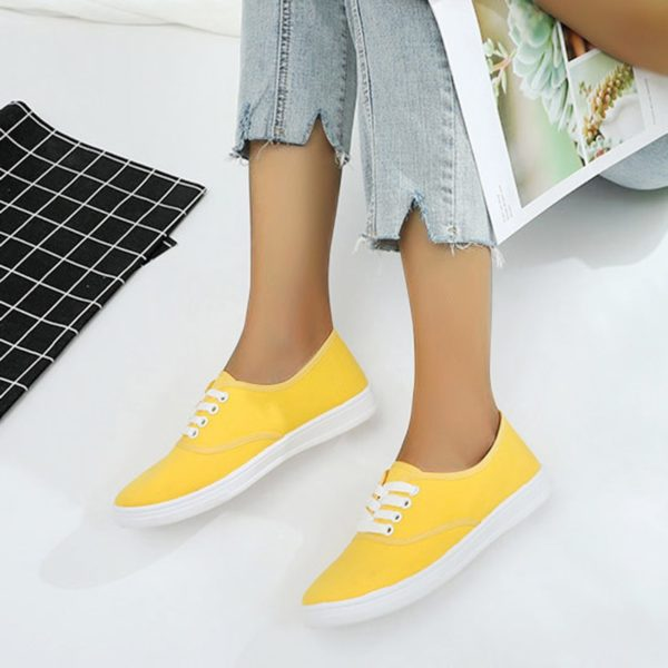 2020 Spring Loafers Canvas Shoe Sneakers for Women Shoes Breathable Women's Casual Shoes Lace Up Solid Color Woman Shoes 35-41
