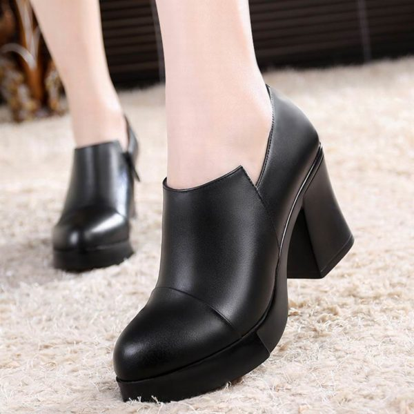 2020 Women's Spring and Autumn Shoes Thick High Heels Fashion Women Genuine Leather Shoes First Layer of Cowhide Platform Pumps