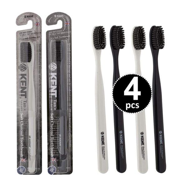 Kent Tan Soft Bristles Charcoal Toothbrush Teeth Whitening Pack of 4
