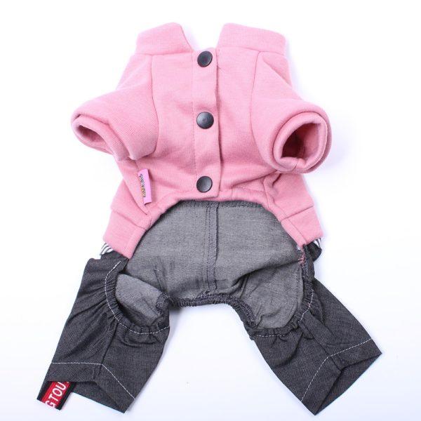 Dog Cat Jumpsuit Hoodie Demin Pants Letters Design Pet Puppy Coat Jacket Spring/Autumn Clothes Apparel