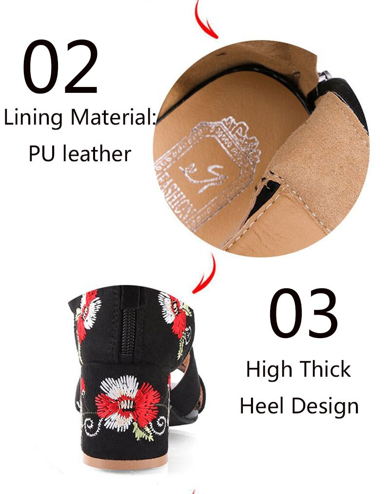 WDHKUN Woman Pumps High Heels Elastic Band Zipper Rubber Open Toe Embroider Dancing Party Wedding Ladies Shoes Zapatos Mujer