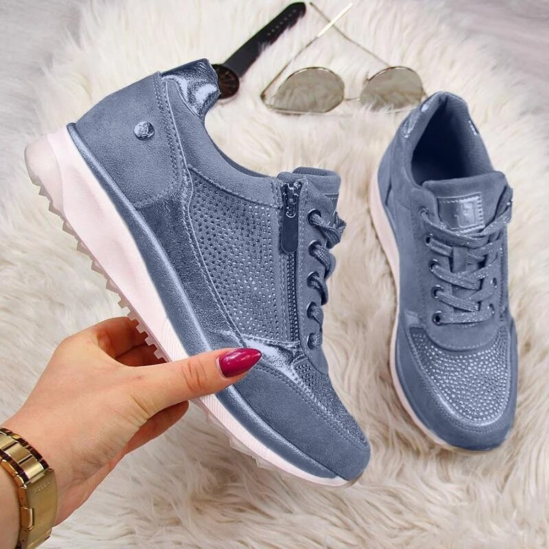 Shoes Woman Sneakers Gold Zipper Platform Trainers Women Shoes Casual Lace-Up Tenis Feminino Zapatos De Mujer Womens Sneakers