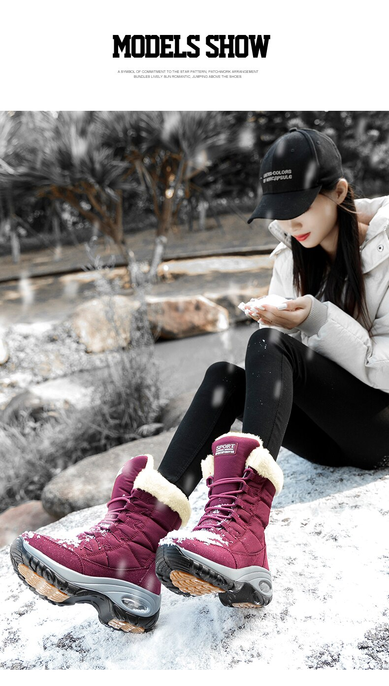 Moipheng Women Boots Winter Keep Warm Quality Mid-Calf Snow Boots Ladies Lace-up Comfortable Waterproof Booties Chaussures Femme
