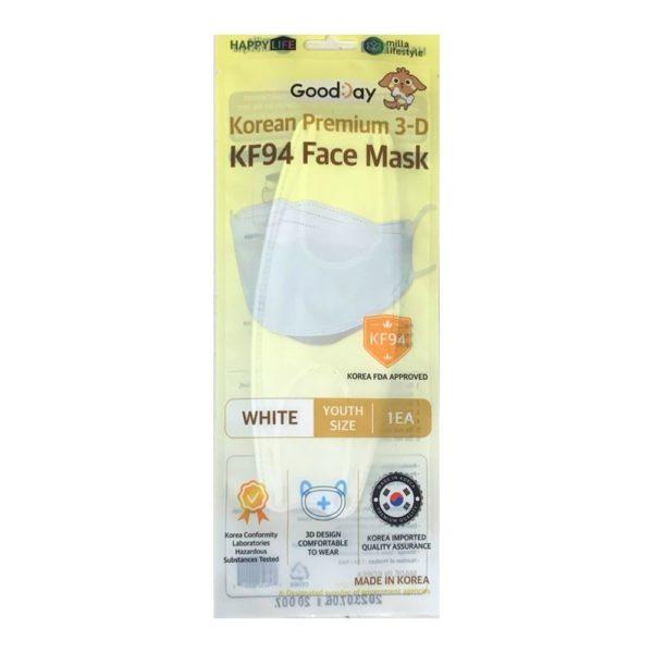 [Happy Life] Good Day KF94 Premium Face Mask (White-Kids Size) 10 & 100 Pcs
