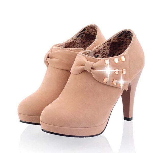 LANYUXUAN 2018 Women Shoes Big Size Sale 34-43 Apricot New Women Pumps Platform High Heels Ladies Party Shoes C-8