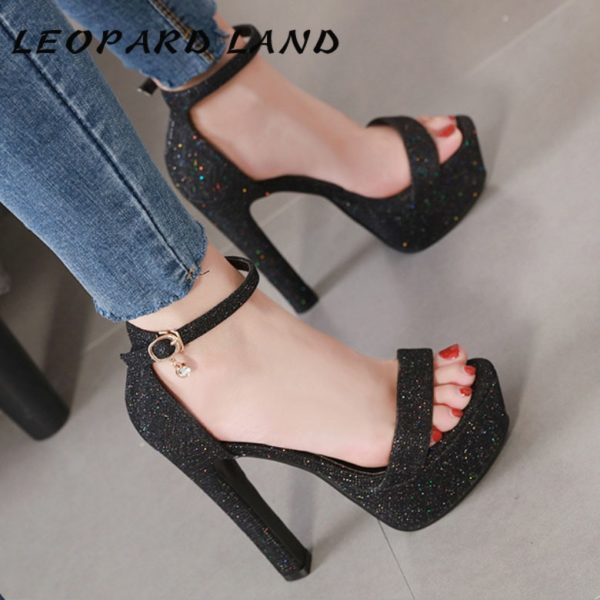 LEOPARD LAND 2020 Thick With Waterproof Platform high-heeled Shoes Buckle Sequins Open Toe Sandals women's Shoes CWF