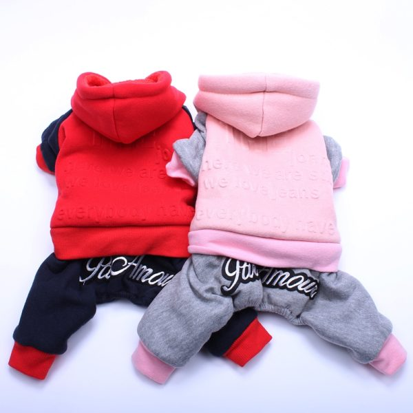 Pet Dog Fleece Hoodie Jumpsuit Letter Embossed Cat Puppy Outfit Coat Jacket Warm Clothes Apparel