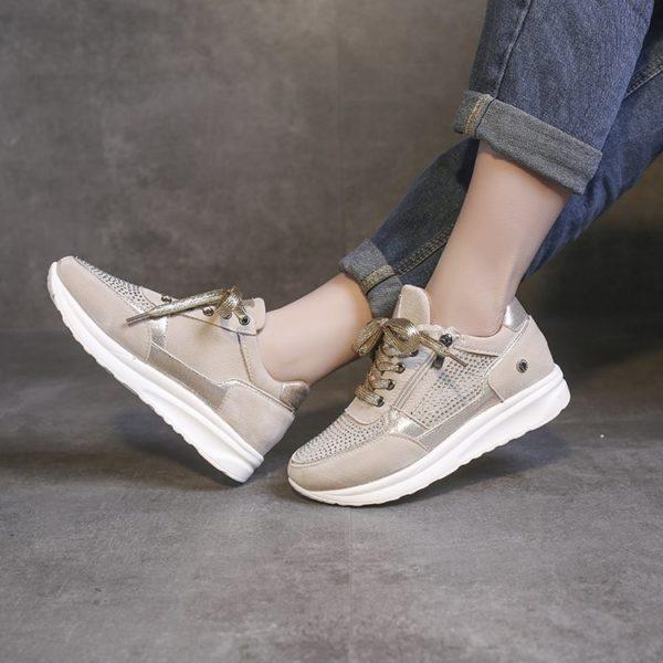 Shoes Woman Sneakers Gold Zipper Platform Trainers Women Shoes Casual Lace-Up Tenis Feminino Zapatos De Mujer Womens Sneakers