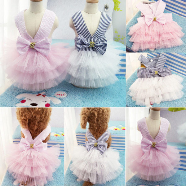 Summer Dog Lace Tullle Dress Pet Dog Clothes For Small Dog Party Birthday Wedding Bowknot Dress Puppy Costume Spring Pet Clothes