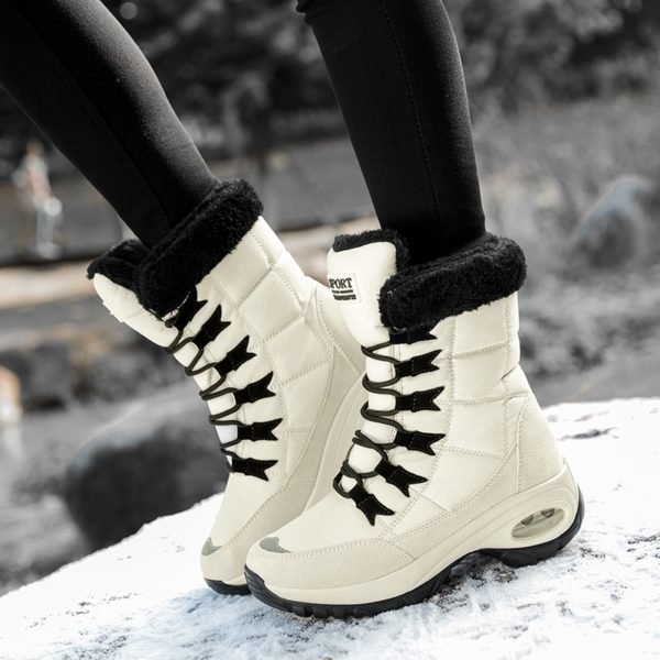 TUINANLE Quality Waterproof Winter Women Boots Keep Warm Mid-Calf Snow Boots Ladies Lace-up Comfortable Boots Chaussures Femme