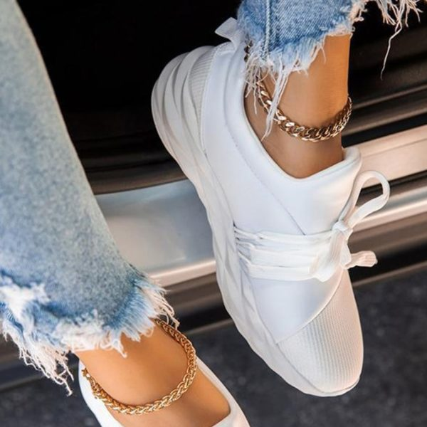 White Sneakers for Women Platform Flat Women's Sports Shoes Female Casual Breathable Vulcanized Woman Lace Up Footwear Big Size
