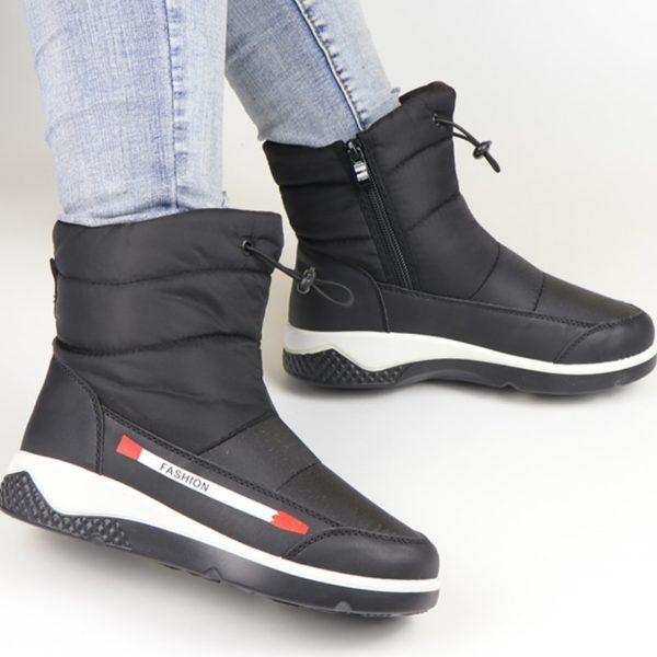 Winter Boots Waterproof Snow Boots Ankle Wedge Shoes Women Fur Platform Boots Ladies Short Zipper Botas Warm Black Bota Feminina