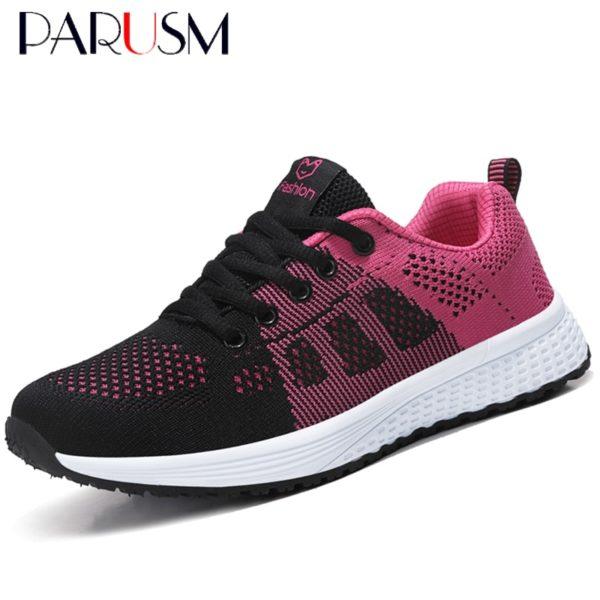 Women Casual Shoes Fashion Breathable Walking Mesh Lace Up Flat Shoes Sneakers Women 2020 Tenis Feminino Pink Black White
