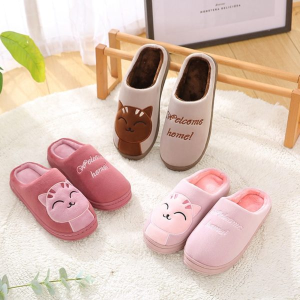 Women Cotton Home Slippers Cartoon Winter Warm Indoor Outdoor Slippers Bedroom Lovers Couples Floor Shoes Anti Slip Rubber Sole