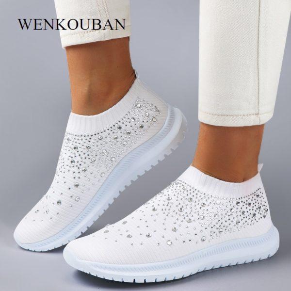 Women Flats Sneakers Crystal Fashion Bling Sneakers Casual Slip On Sock Trainers Summer Women Vulcanize Shoe Zapatillas Mujer