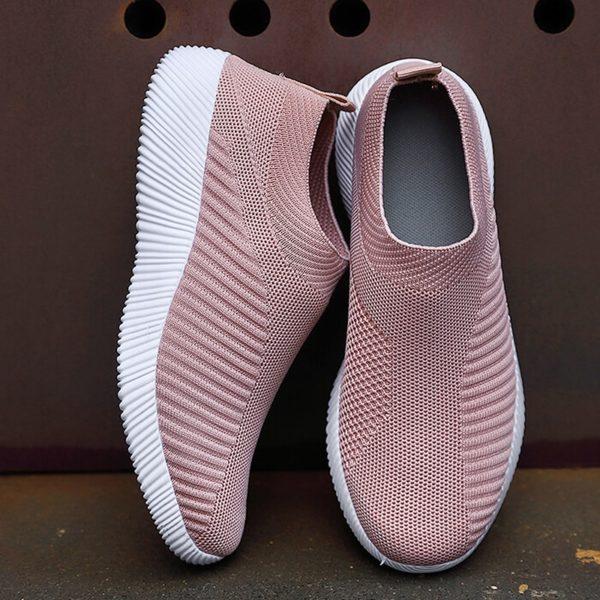 Women Vulcanized Shoes High Quality Women Sneakers Slip On Flats Shoes Women Loafers Plus Size 42 Walking Flat