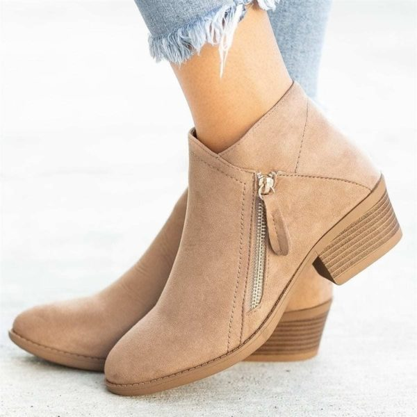 Ankle Boots for Women Casual Shallow Slip-on Pointed Toe Low Heels Shoes Woman Big Size PU Leather Zapatos de Mujer