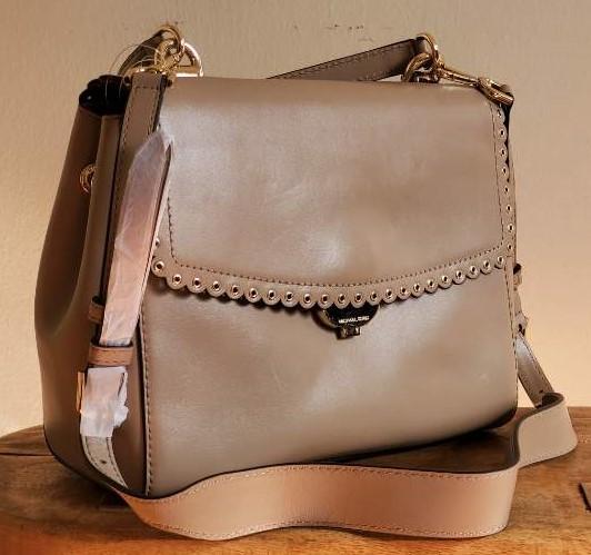 Michael Kors Ava Medium Truffle Leather Satchel
