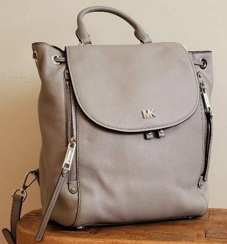 Michael Kors Evie Medium Pearl Grey Backpack