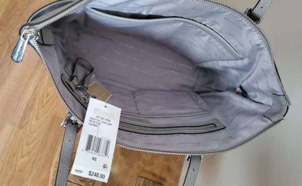 Michael Kors Jet Set Pearl Grey Top Zipper Tote