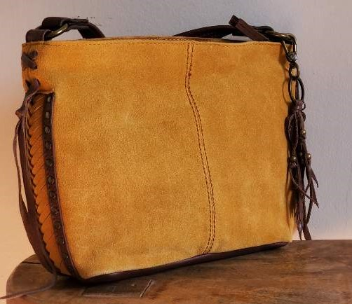 The Sak Indio Suede Demi Small Shoulder Amber Gold