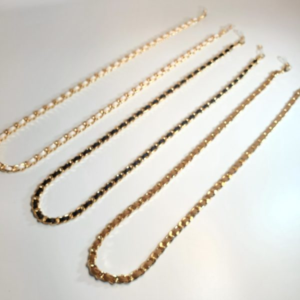 Suede Gold Chain Mask Necklace Mask Holder