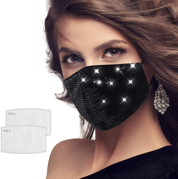 Sequin Multi Color Fashion Bling Face Nose Mask With Adjustable Ear Loops Washable Reusable Breathable