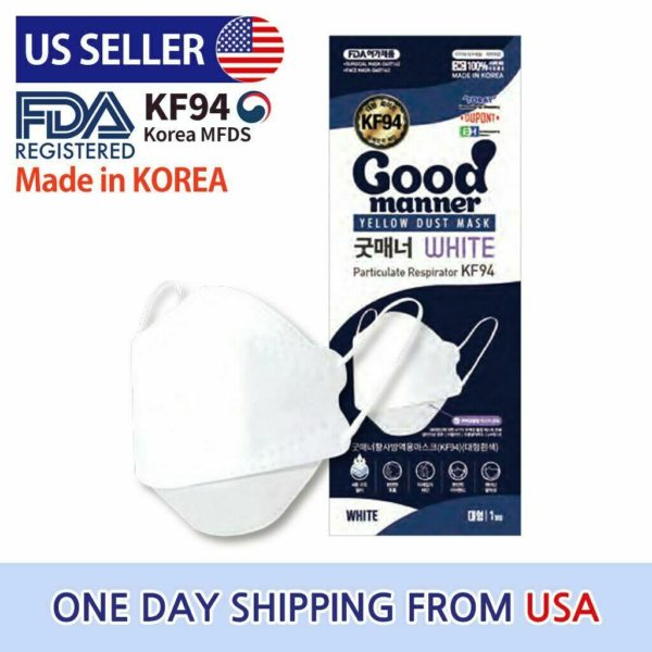 5 pcs KF94 Mask Good Manner Black / White KF94 Korean 4Layer Comfortable Face Mask Made In S Korea